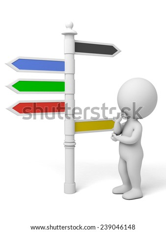 A man standing in front of a road sign - stock photo