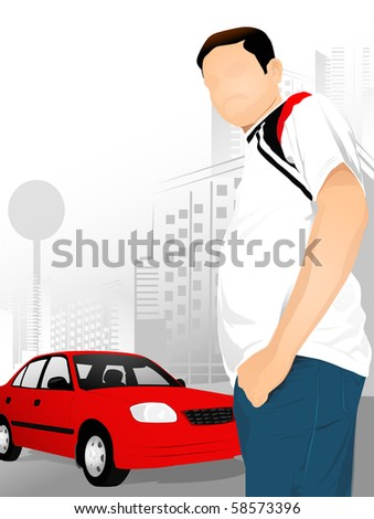 a man standing next to his red car - stock photo