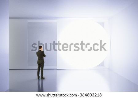 A man stands in an empty white room with copy space 3D Render