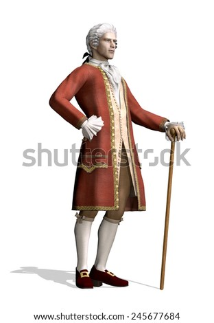 A man stands wearing 18th Century clothing - 3d render. - stock photo