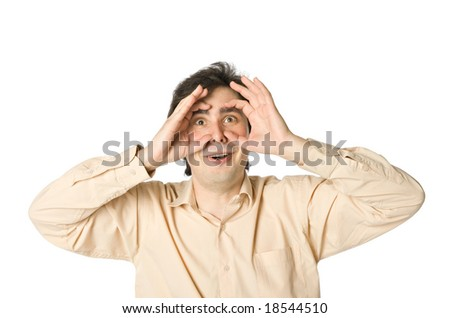 A man staring at something, over white - stock photo