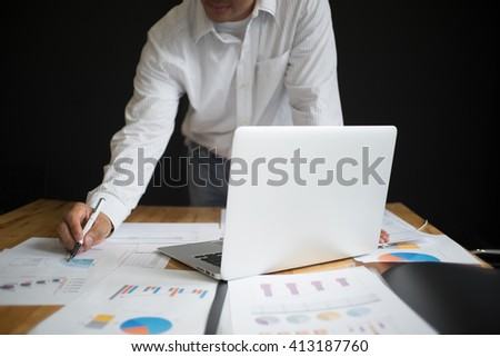 A man startups business meeting to discuss the situation on the marketing,selective focus. - stock photo