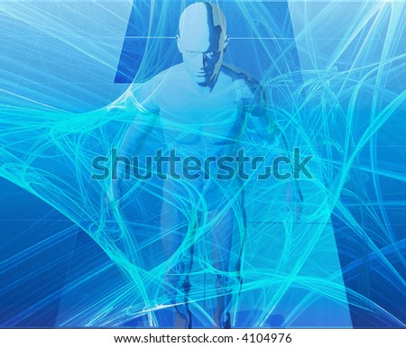 A man surrounded by information  blue background - stock photo