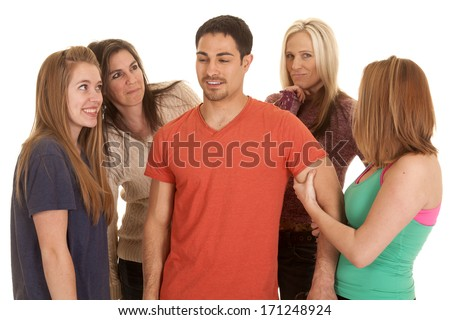 A man surrounded by women.