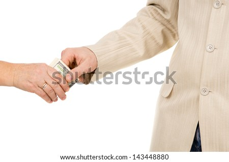 a man takes a bribe isolated on white background - stock photo