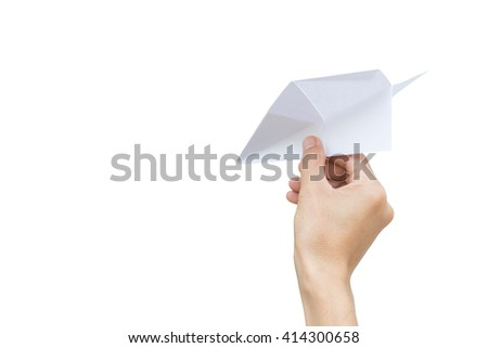 a Man throwing a paper airplane/planes with right hand over white background - stock photo