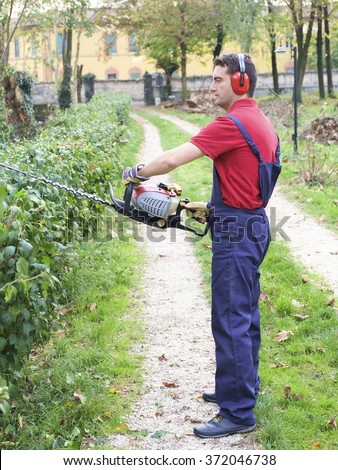 A man trimming a bush wearing a protection overall  - stock photo