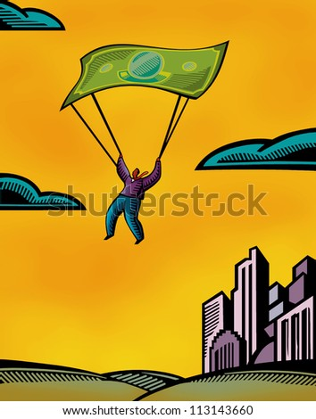 A man using a bank note as a parachute - stock photo