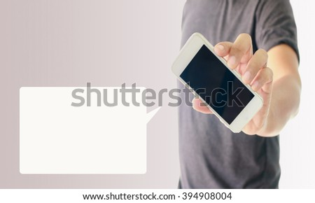 a man using hand holding the smartphone with opening  speech - stock photo