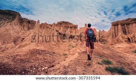 A man walking to canyon, Sao Din Nanoi, Nan, Thailand - stock photo
