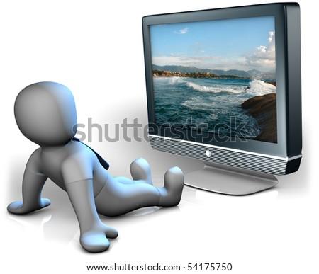 A man watching a big TV - stock photo