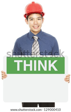 A man wearing a hardhat and holding a blank Think Safety sign - stock photo