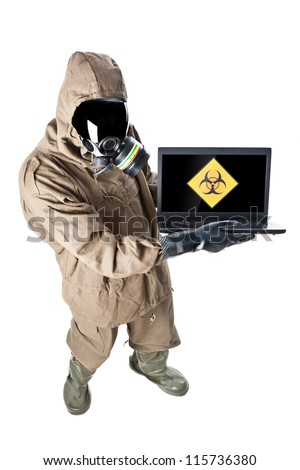 A man wearing an NBC Suite (Nuclear - Biological - Chemical)
