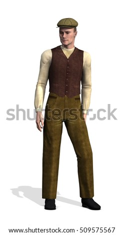 A man wearing typical working class clothes in the early 20th century - 3d render.