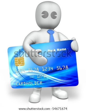 a man with a big credit card - stock photo