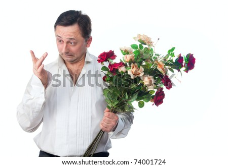 A man with a bouquet of roses on a white background