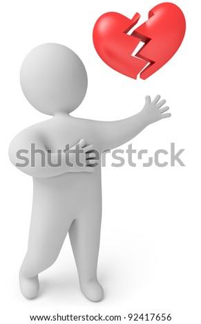 A man with a broken heart, 3d render - stock photo