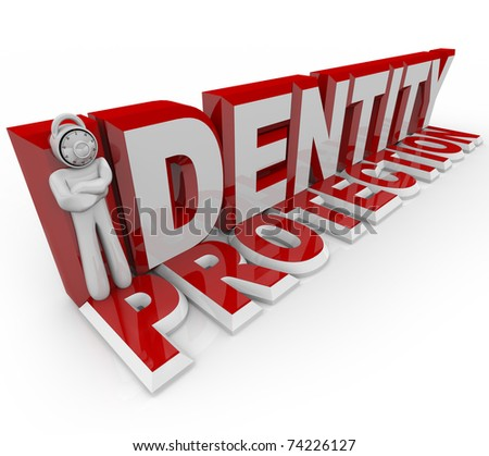 A man with a combination lock for a head stands in for the letter I in the words Identity Protection, symbolizing the protection of a security guard in prevneting crime - stock photo