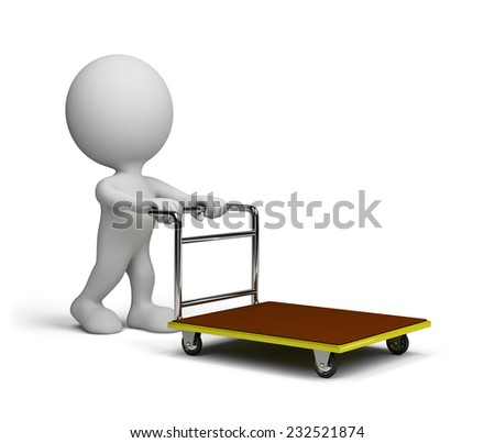 A man with a handcart goes shopping. 3d image. White background. - stock photo