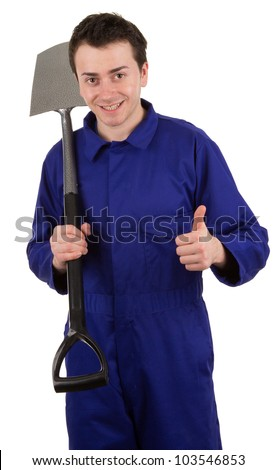 A man with a spade, isolated on white