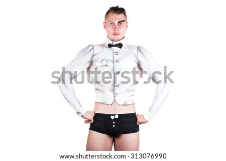 A man with a suit waiter bodypainting isolated on white background - stock photo