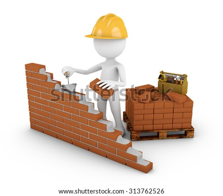 A Man With Trowel Building Brick Wall