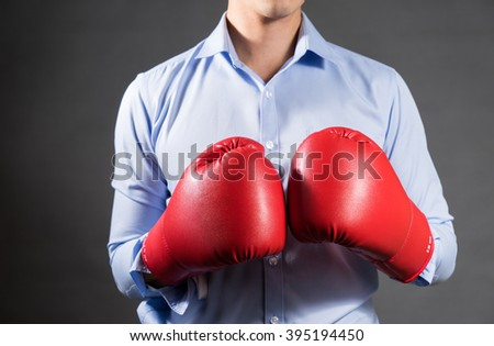 A Man with boxing gloves .Photo for magazine ,or design work