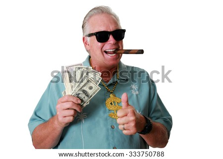 A man with money. A man wins money. A man has Money. A man Sniffs Money. A man Loves Money. A man and his money. A man is Rich. A rich man. A man wins the lottery. A man gets paid.  - stock photo