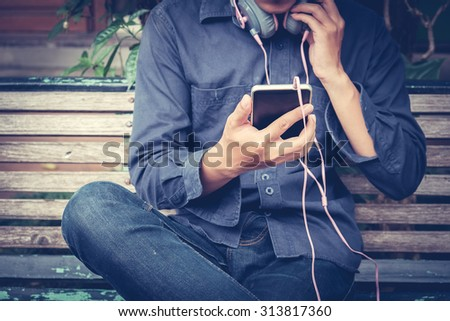 A man with smart phone. - stock photo