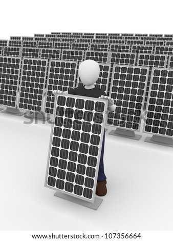 A man with some solar panels. Electrical equipment - stock photo