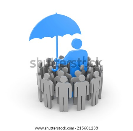 A man with umbrella, protects a group of people - stock photo