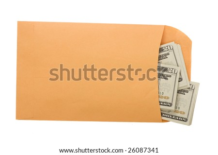 A manila envelope filled with money. Somebody's getting paid - stock photo