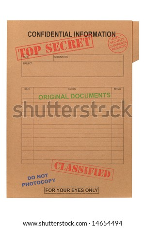 A manila file with various security stamps upon it, isolated on white with clipping path. - stock photo