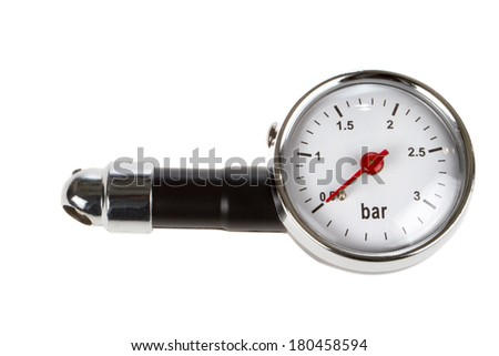 A Manometer indicate 0,5 bar air pressure on a white background. - stock photo