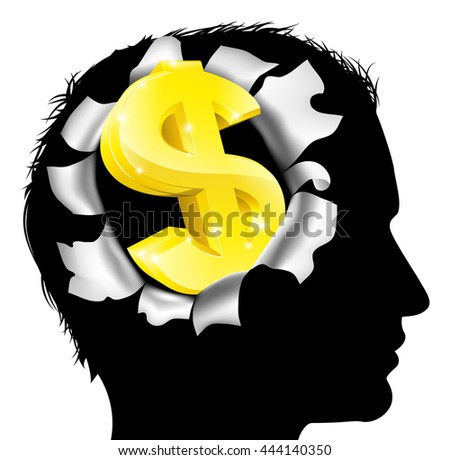 A mans head in silhouette with gold dollar sign symbol. Concept for thinking or dreaming about making money or business success or having a money making idea. - stock photo