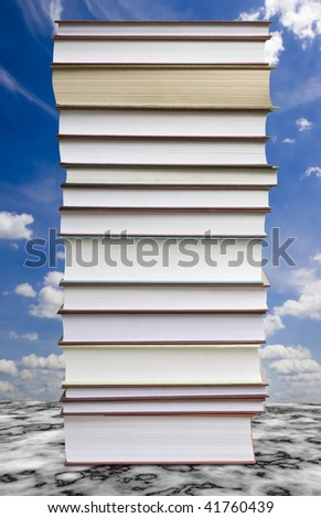 a many books on the white backgrounds