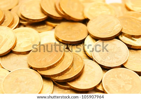 A many gold coins . - stock photo