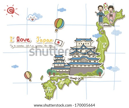 A map depicting the tourist attractions of Japan. - stock photo