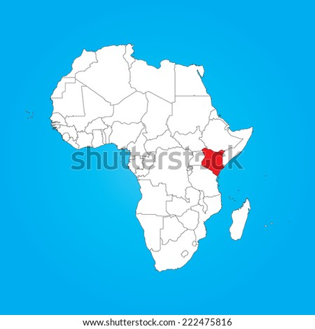 Map Africa Selected Country Kenya Stock Illustration 222475816 ...