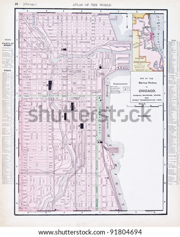 Chicago Map Stock Images RoyaltyFree Images Vectors Shutterstock - Us map chicago illinois