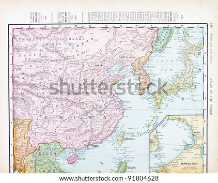 Map china korea japan spoffords atlas stock photo safe to use a map of china korea and japan from spoffords atlas of the world gumiabroncs Images