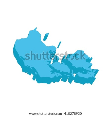 A map of Denmark 3D on white background