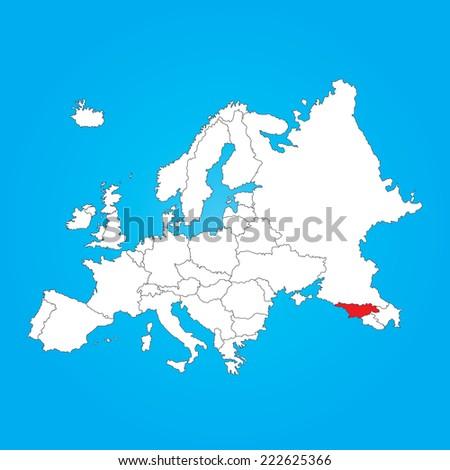 Map europe selected country georgia stock illustration 222625366 a map of europe with a selected country of georgia gumiabroncs Gallery