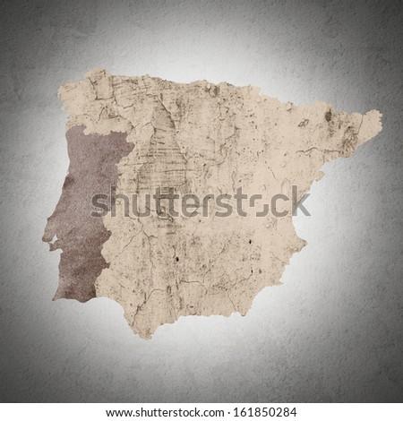 a map of iberian peninsula textured - stock photo
