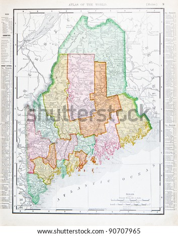 A map of Maine, USA from Spofford's Atlas of the World, printed in the United States in 1900, created by Rand McNally & Co. - stock photo