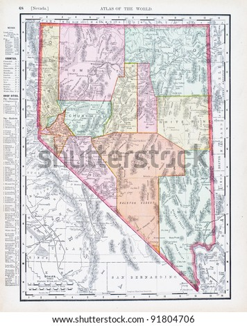 A map of Nevada, USA from Spofford's Atlas of the World, printed in the United States in 1900, created by Rand McNally & Co. - stock photo