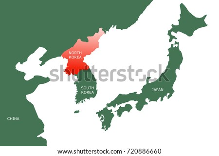 Map North East Asia Showing Two Stock Illustration 720886660