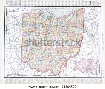 A map of Ohio, USA from Spofford's Atlas of the World, printed in the United States in 1900, created by Rand McNally & Co. - stock photo