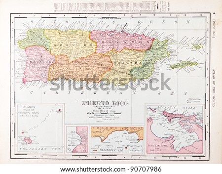 A map of Puerto Rico from Spofford's Atlas of the World, printed in the United States in 1900, created by Rand McNally & Co. - stock photo