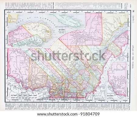Map quebec province canada spoffords atlas stock photo edit now a map of quebec province canada from spoffords atlas of the world printed in gumiabroncs Images